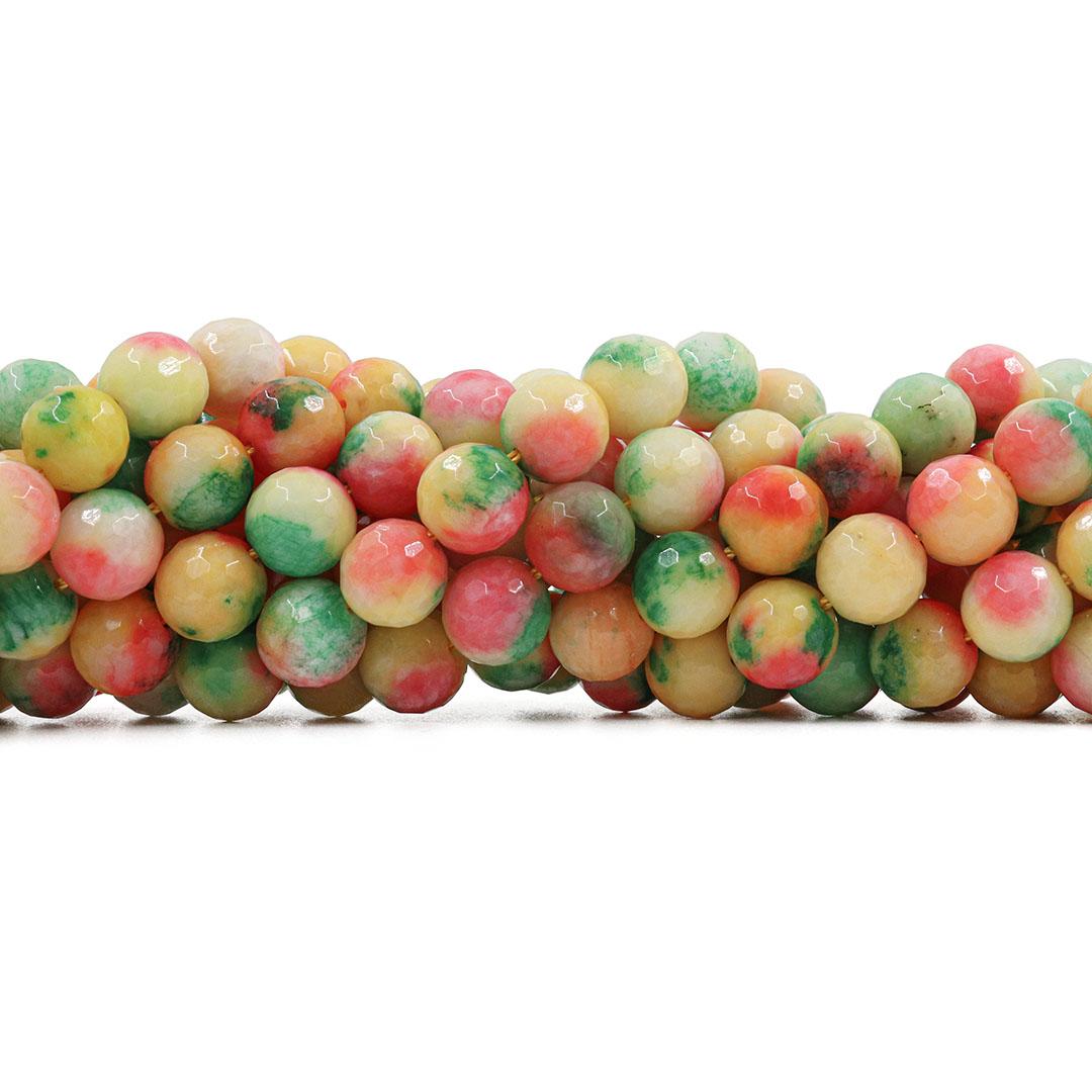 Jade Multicolor Amarelo Fio com Esferas Facetadas de 10mm - F464  - ArtStones