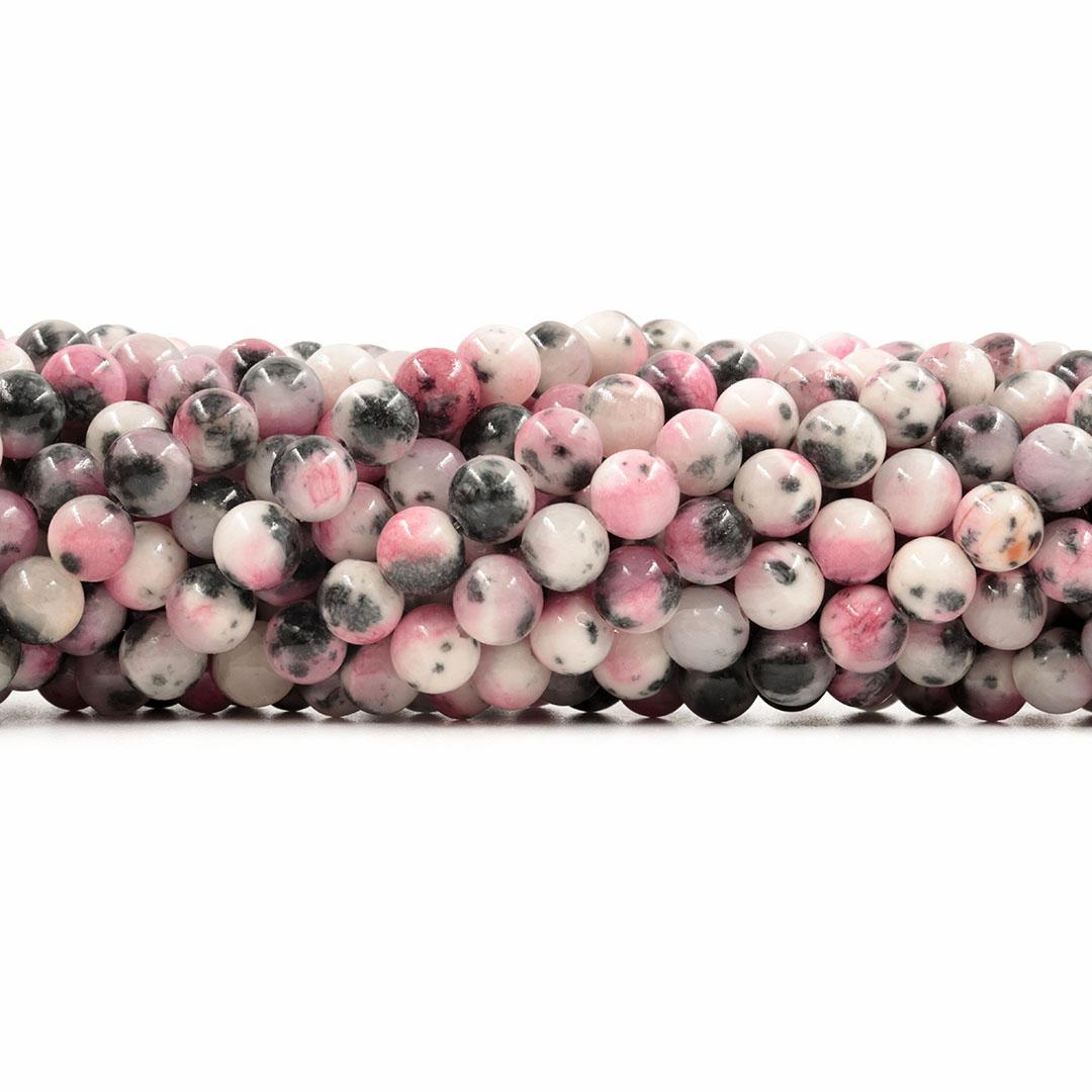 Jade Rosa Dark Mesclado Fio com Esferas de 8mm - F086  - ArtStones