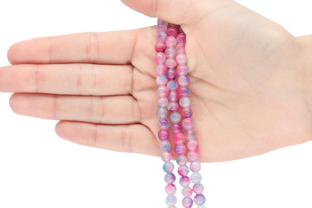 Jade Multicolor Pink Fio com Esferas de 6mm - F844  - ArtStones