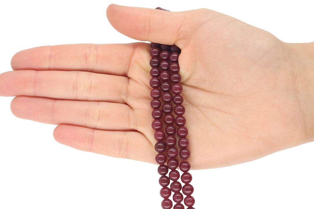 Jade Rubi Leitoso Fio com Esferas de 6mm - F370  - ArtStones