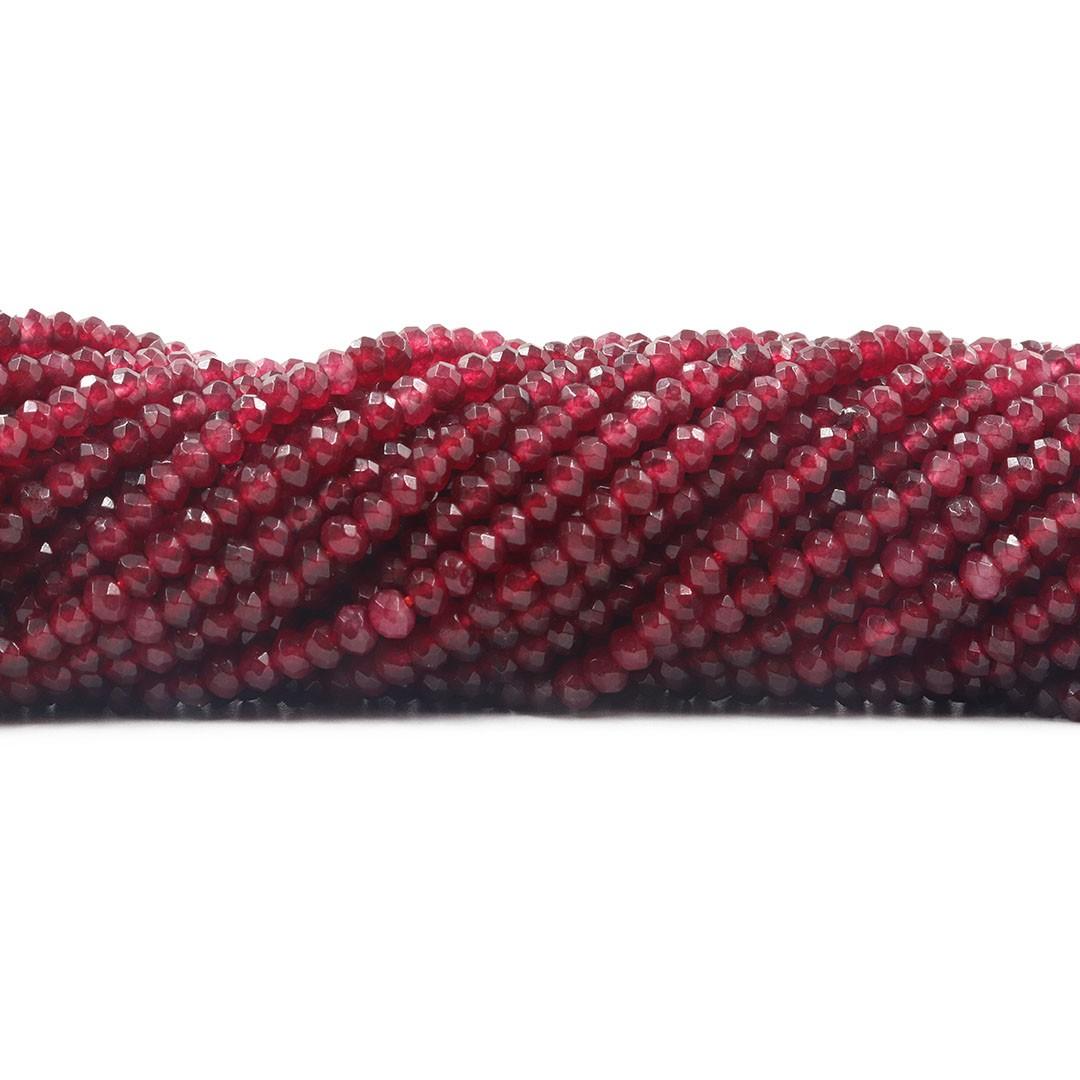 Jade Rubi translúcido Formato Briolet  4mm Facetado - F654  - ArtStones
