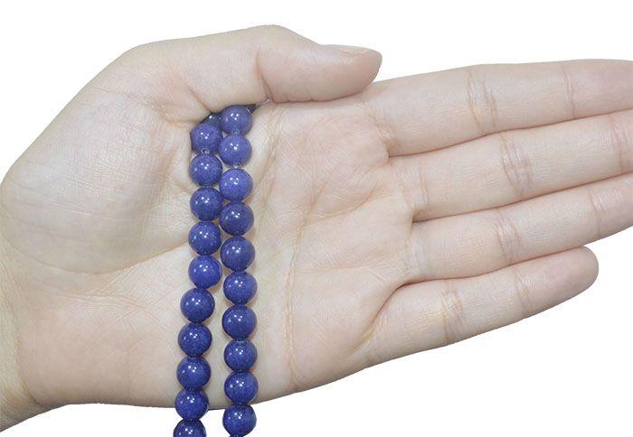 Jade Safira Fio com Esferas de 8mm - F376  - ArtStones