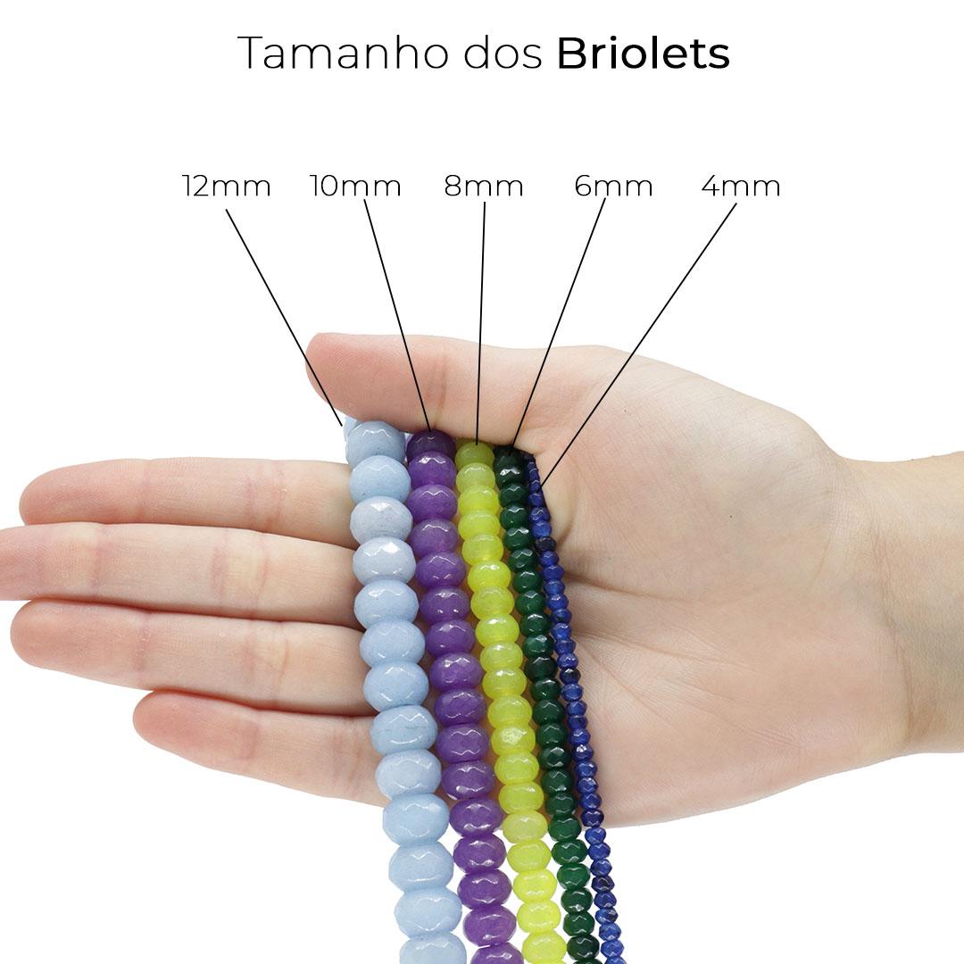 Jade Safira Mesclado Formato Briolet  4mm Facetado - F649  - ArtStones
