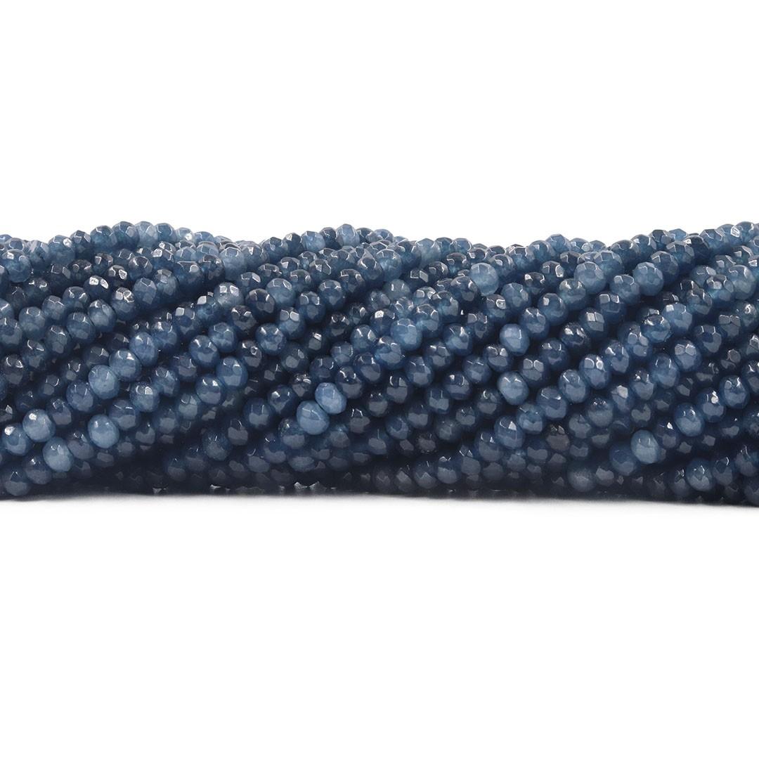 Jade Safira Mesclado Formato Briolet  4mm Facetado - F651  - ArtStones