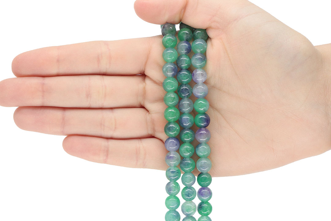 Jade Multicolor Tiffany Fio com Esferas de 8mm - F842  - ArtStones