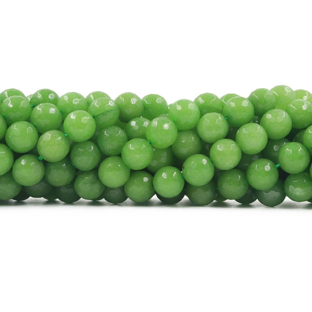 Jade Verde Fio com Esferas Facetadas de 10mm - F406  - ArtStones
