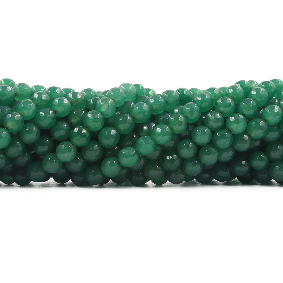 Jade Verde Floresta Fio com Esferas Facetadas de 6mm - F389  - ArtStones