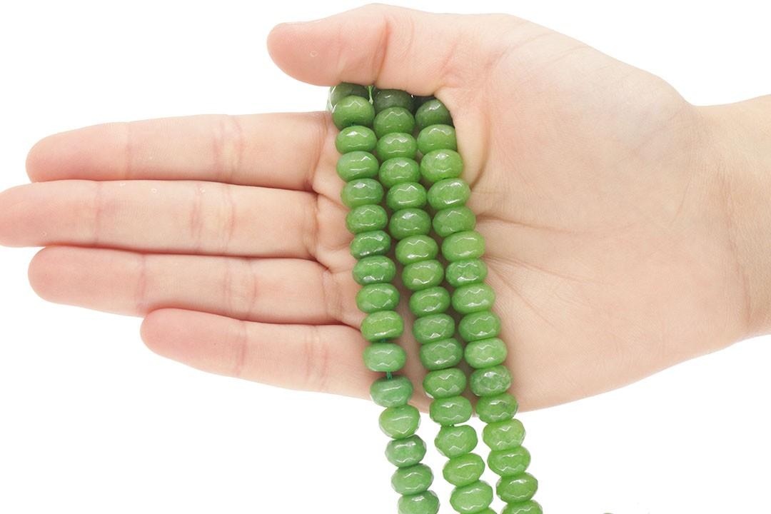 Jade Verde Folha Briolet de 10mm Facetado - F319  - ArtStones