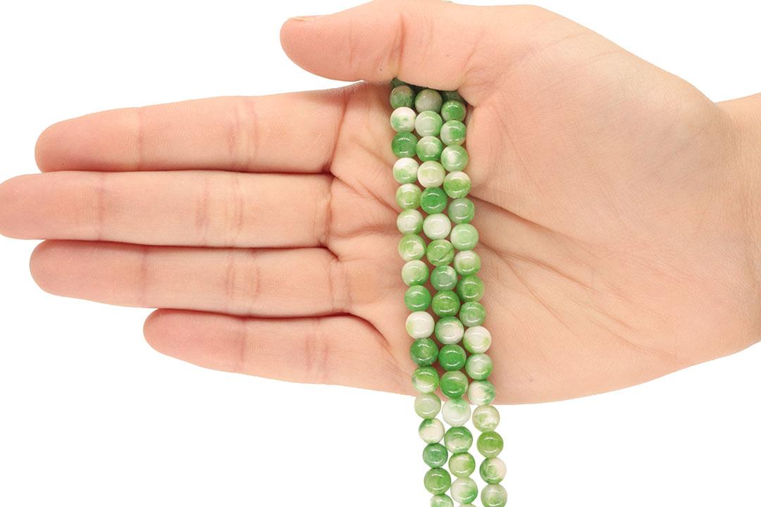 Jade Verde Mesclado Fio com Esferas de 6mm - F199  - ArtStones