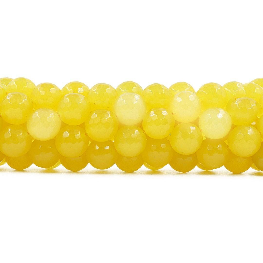 Jade Yellow Fio com Esferas Facetadas de 12mm - F284  - ArtStones