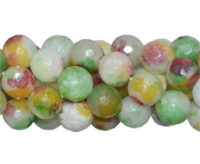 Jade Multicolor Fio com Esferas Facetadas de 8mm - F361  - ArtStones