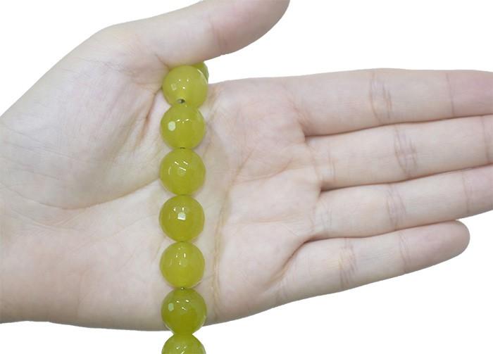 Jade Peridoto Fio com Esferas Facetadas de 14mm - F409  - ArtStones