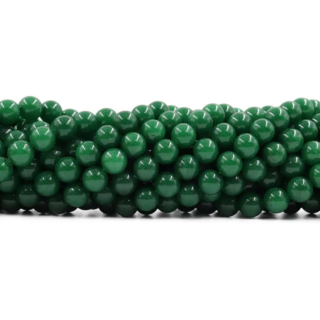 Jade Esmeralda Leitoso Fio com Esferas de 8mm - F500  - ArtStones