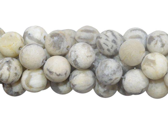 Jaspe Vanilla Fosco Fio com Esferas de 8mm - F430  - ArtStones