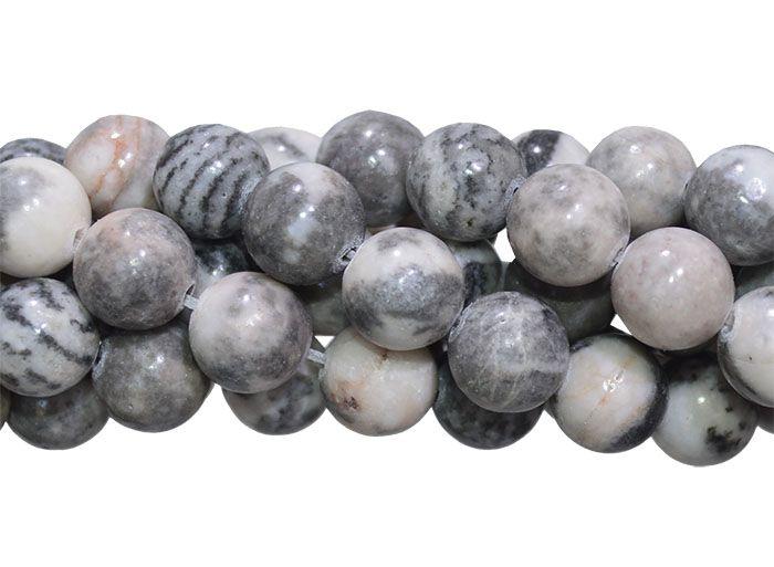 Jaspe Cinza Mesclado Fio com Esferas de 8mm - F445  - ArtStones