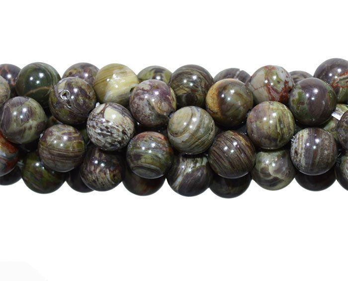 Fio de Combarbalita Verde Mesclada Esferas de 8mm - F160  - ArtStones