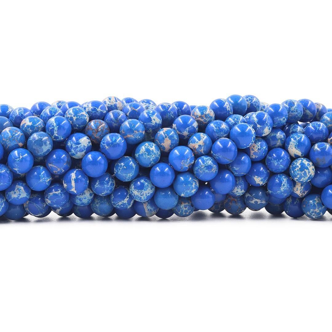 Jaspe Imperador Azul Intenso 8mm Refeito  - F470  - ArtStones