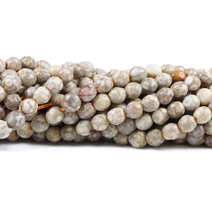 Jaspe Leopardita Fio com Esferas Facetadas de 6mm - F412  - ArtStones