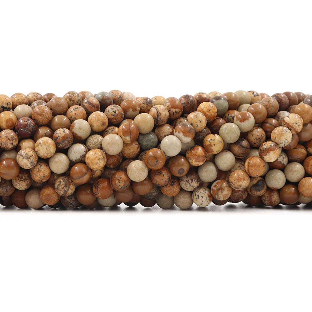 Jaspe Madeira Fio com Esferas de 6mm - F458  - ArtStones