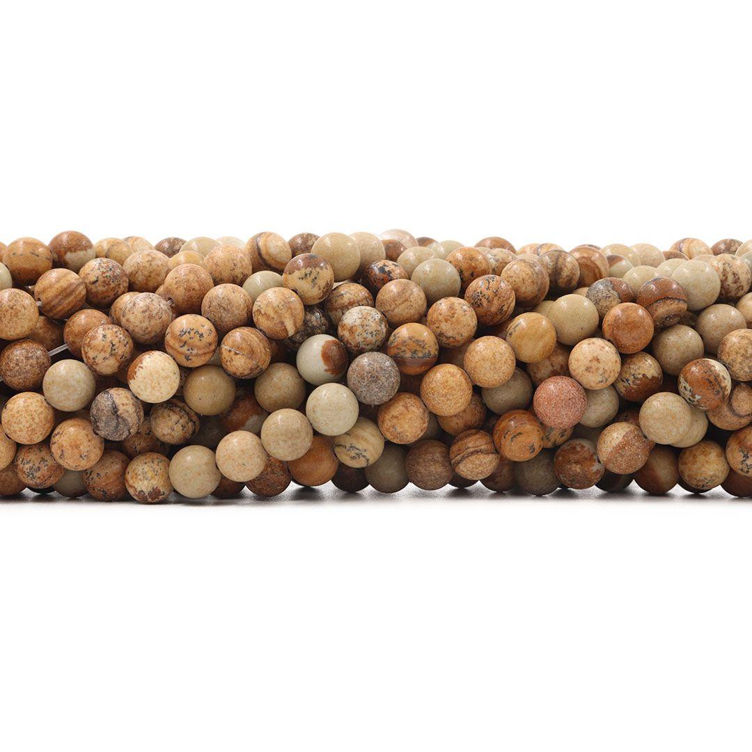 Jaspe Madeira Fio com Esferas de 8mm - F578  - ArtStones