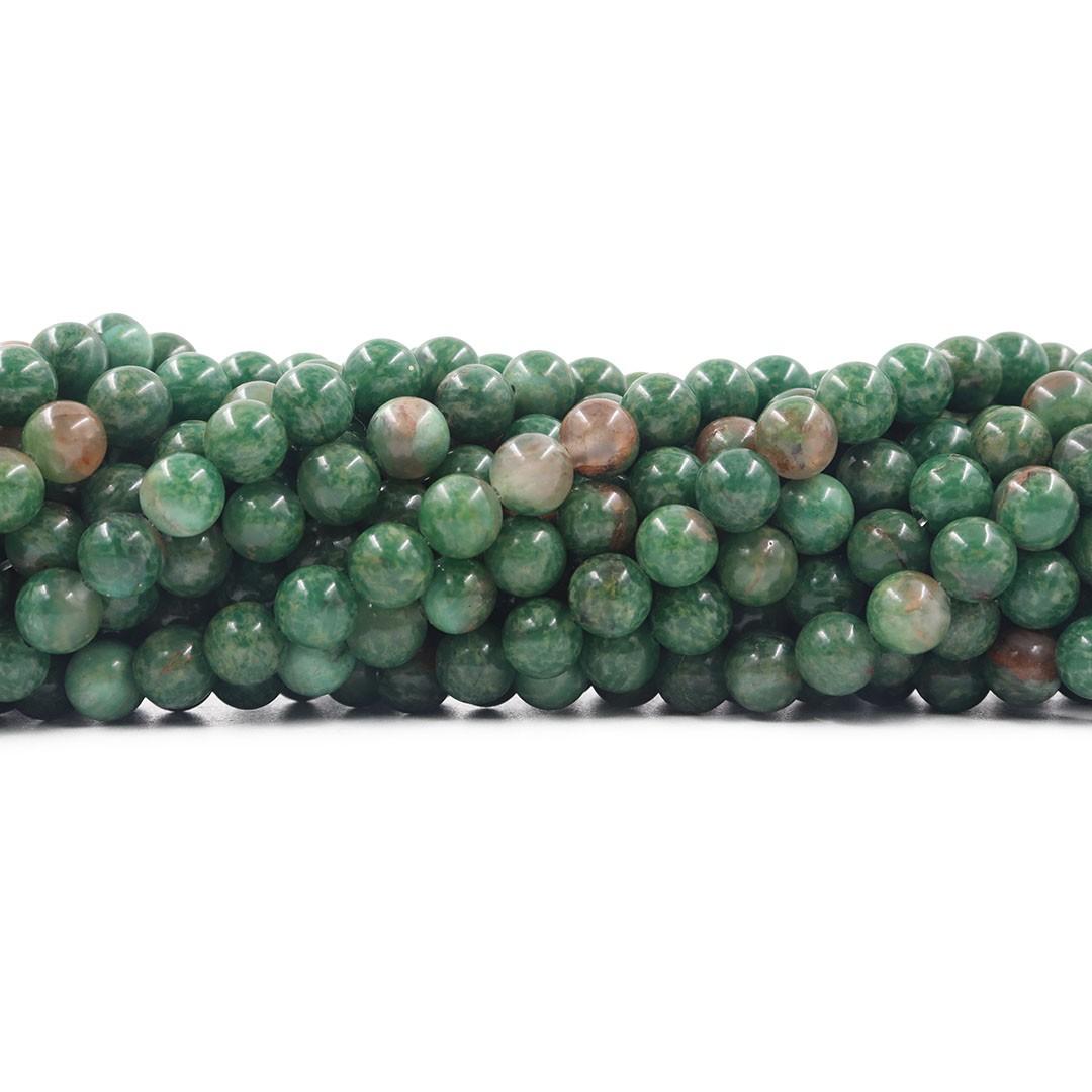 Jaspe Malásia Verde Mesclado Fio com Esferas de 8mm - F236  - ArtStones