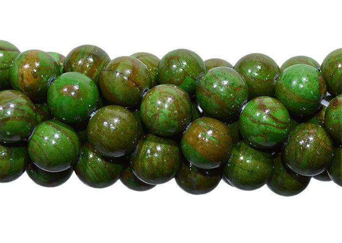 Jaspe Verde Mesclado Fio com Esferas de 10mm - F449  - ArtStones
