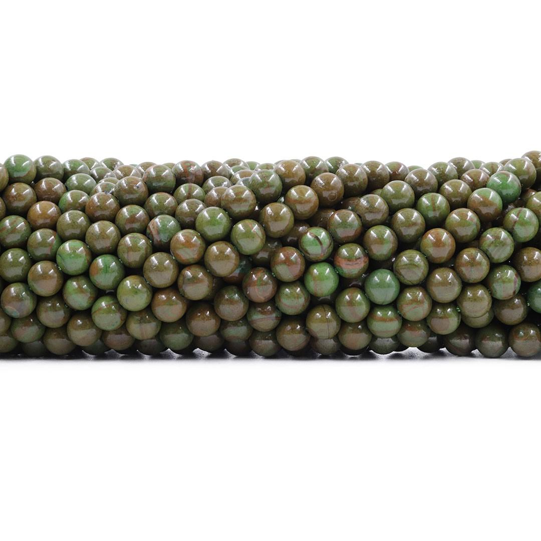Jaspe Verde Mesclado Fio com Esferas de 6mm - F447  - ArtStones