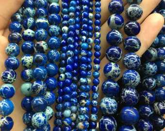 Fio de Jaspe Imperador Azul Intenso 6mm - F000  - ArtStones