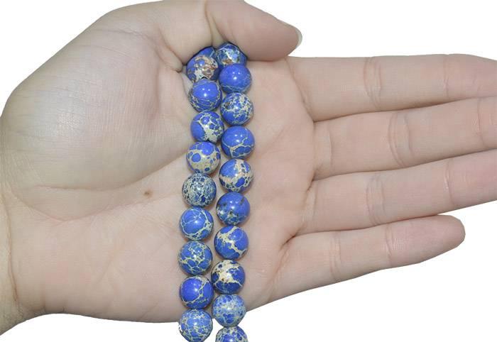 Fio de Jaspe Imperador Azul Intenso 10mm - F465  - ArtStones