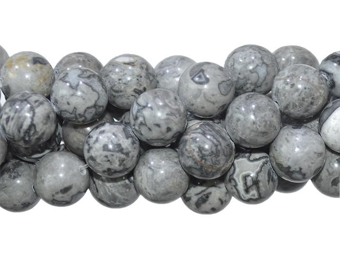 Jaspe Picasso Cinza Fio com Esferas de 10mm - F433  - ArtStones