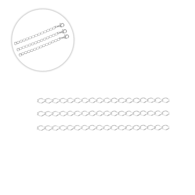 Kit com 03 Correntes Alongadoras de 5CM Prata 925 Elo Grumet 4mm - PR147  - ArtStones