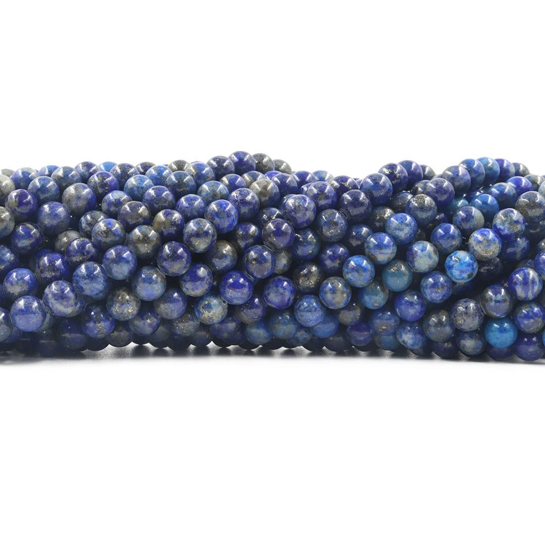 Lápis Lazuli Natural  sem tinta Fio com Esferas de 6mm - F643  - ArtStones