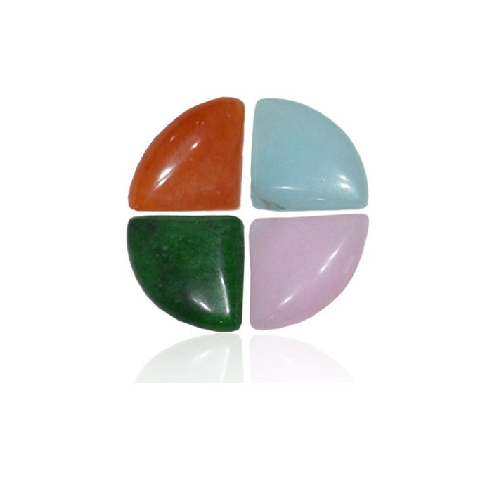 Leque de Jade Natural 14x20mm - 4 Peças - PA058  - ArtStones