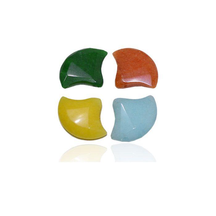 Leque Facetado de Jade Natural 22x28mm - 4 Peças - PA055  - ArtStones