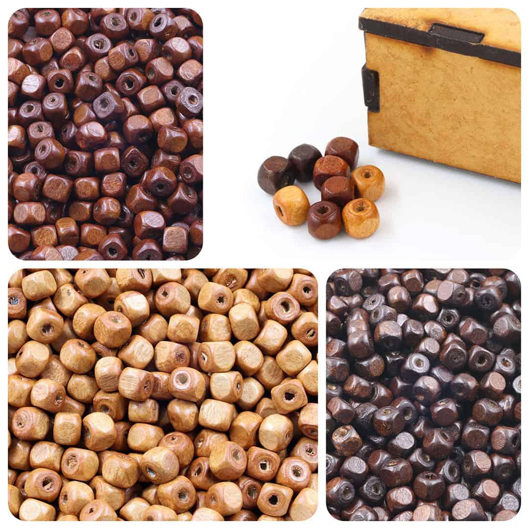 Cubo de Madeira Natural 6mm Cores Variadas - Pacote - CM049  - ArtStones