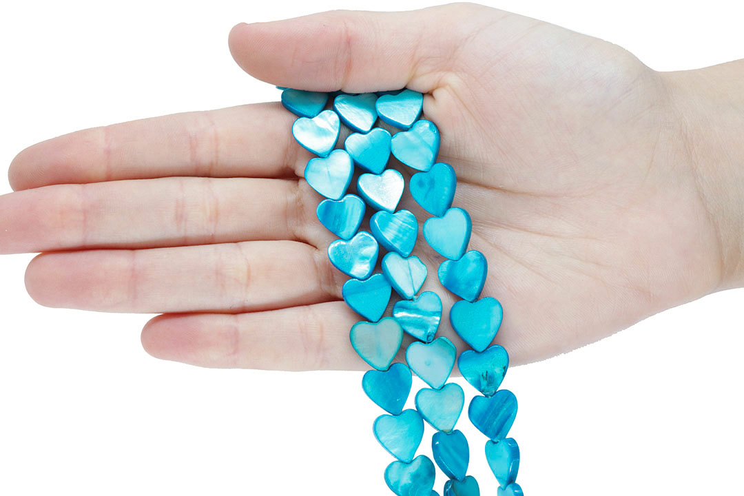 Madrepérola Coração Azul 12mm - PM193  - ArtStones