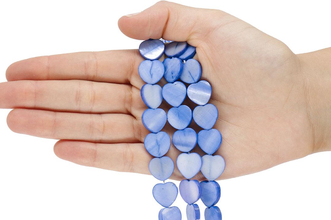 Madrepérola Coração Azul Soft 14mm - PM198  - ArtStones