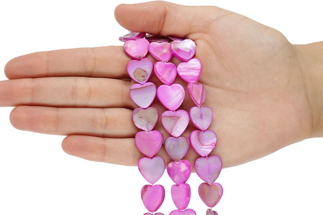 Madrepérola Coração Fúcsia 15mm - PM204  - ArtStones