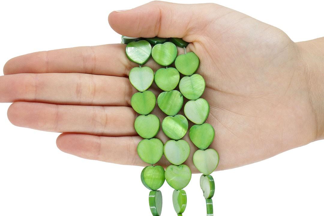 Madrepérola Coração Verde 15mm - PM203  - ArtStones
