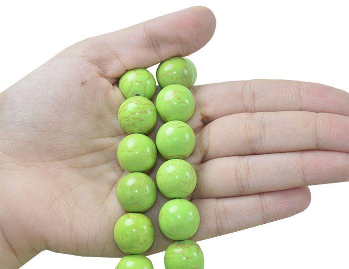 Magnesita Verde Rajada Fio com Esferas de 16mm - HO040  - ArtStones