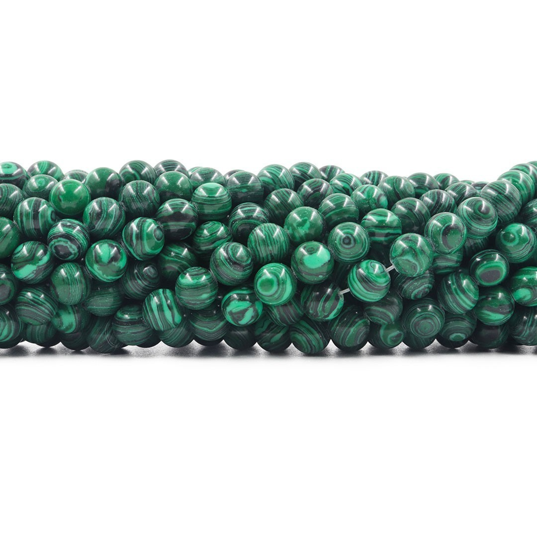 Malaquita Fio com Esferas de 8mm - F179  - ArtStones