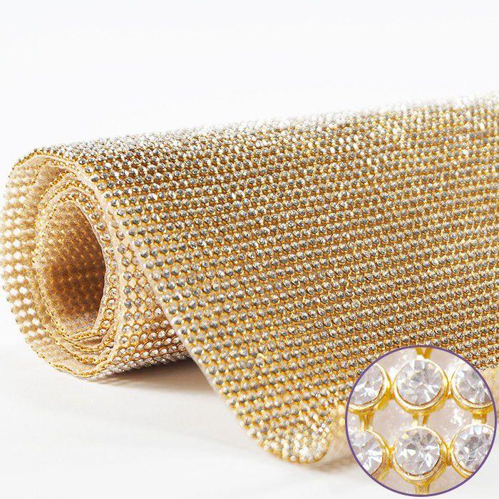 Manta de Strass Dourado Alto Brilho - 1,20x23cm - MM000  - ArtStones