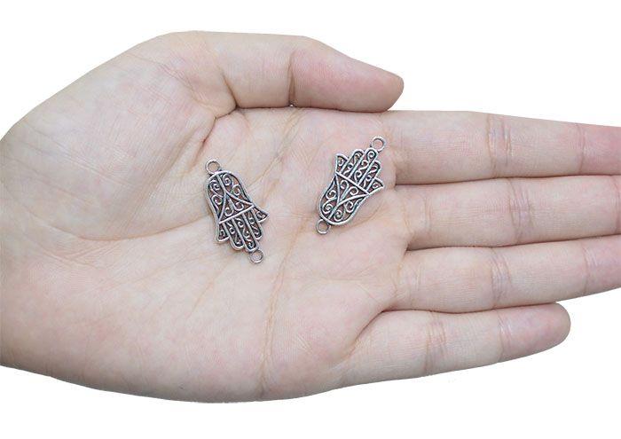 Mão de Hamsa 28x15mm Metal Envelhecido - 06 Peças - ACM_340  - ArtStones