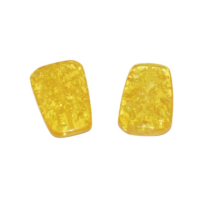 Resina Âmbar Retangular 37x25mm - 4 Peças - OM082  - ArtStones