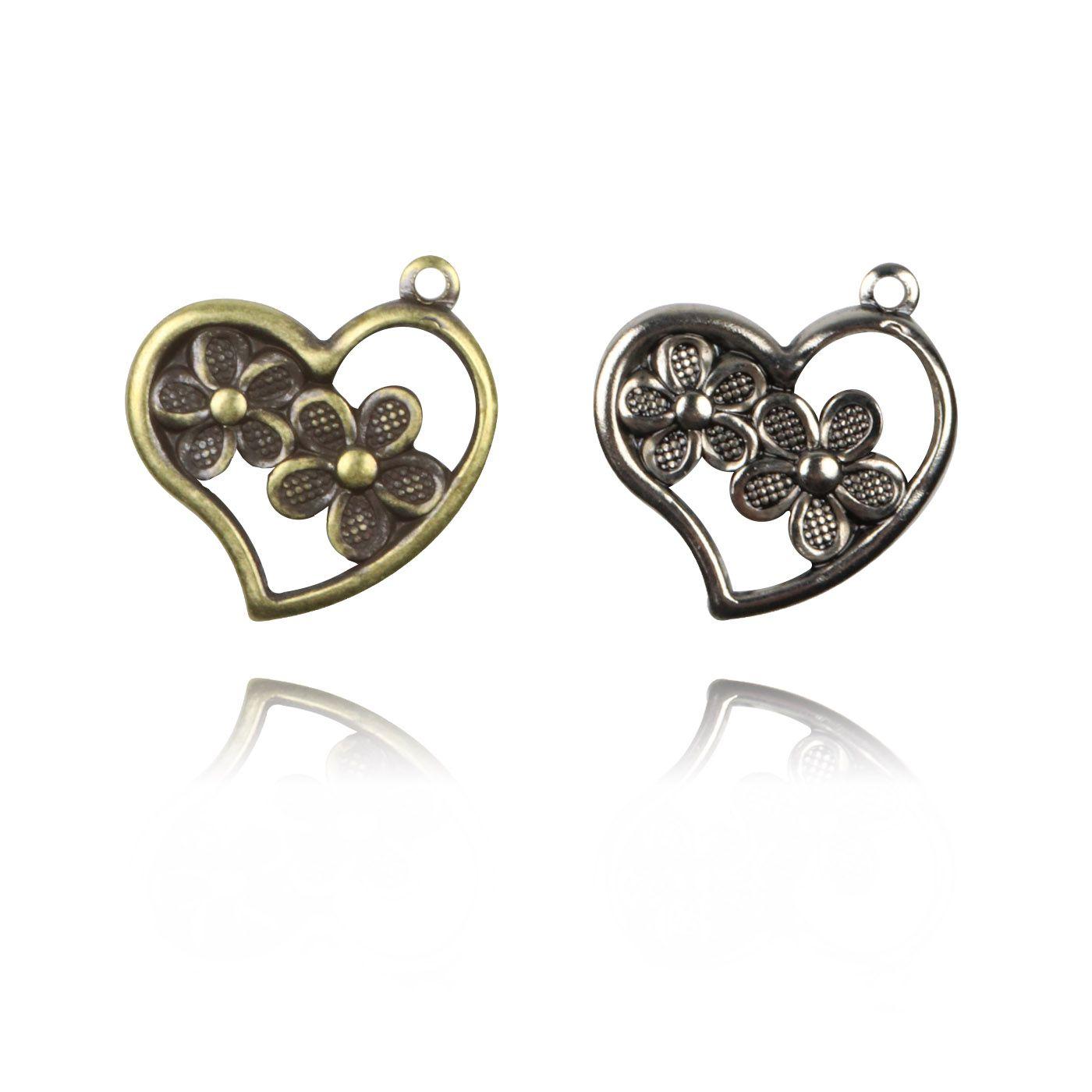 Medalha Coração com Flor 12mm Metal - 5 Peças - AM076  - ArtStones