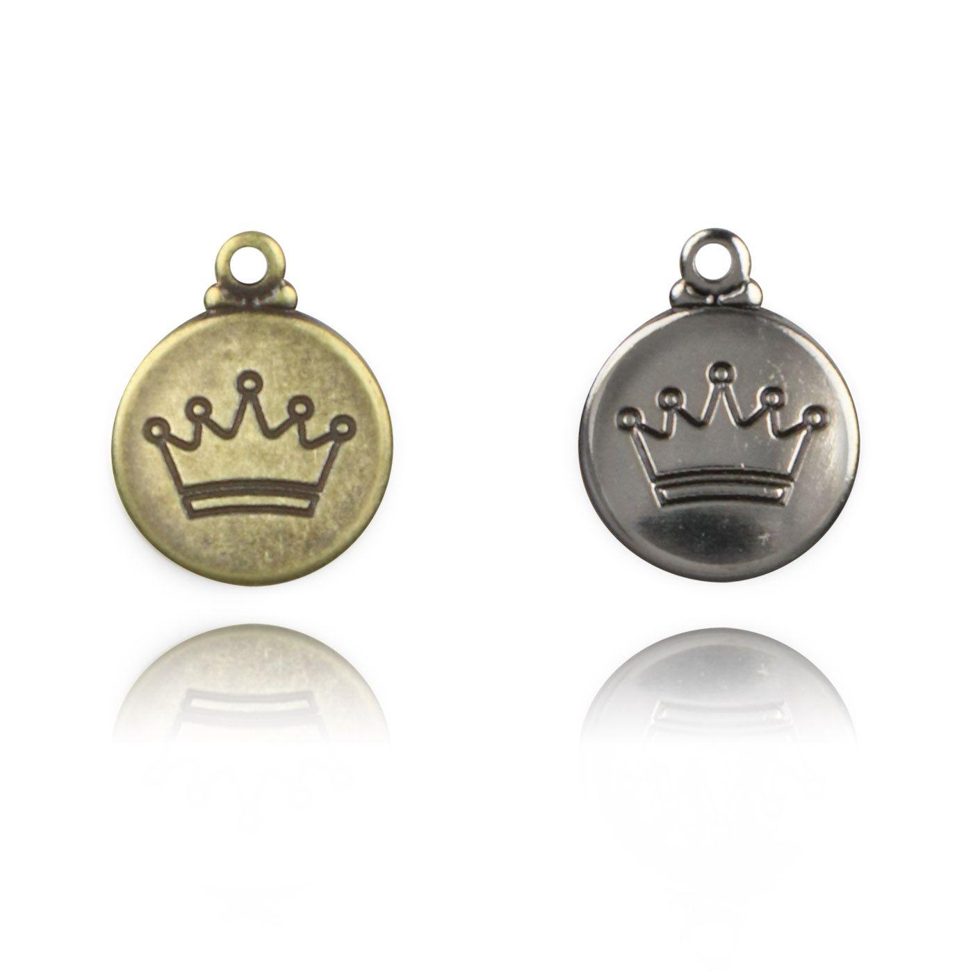 Medalha Mini Coroa 11mm Metal - 5 Peças - AM075  - ArtStones