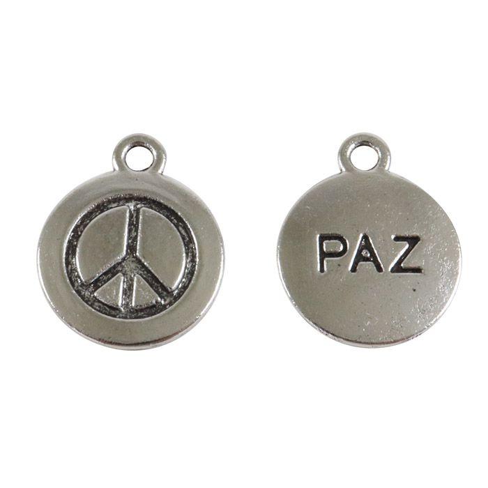 Medalha de Metal Paz 17mm - 05 peças - AM053  - ArtStones