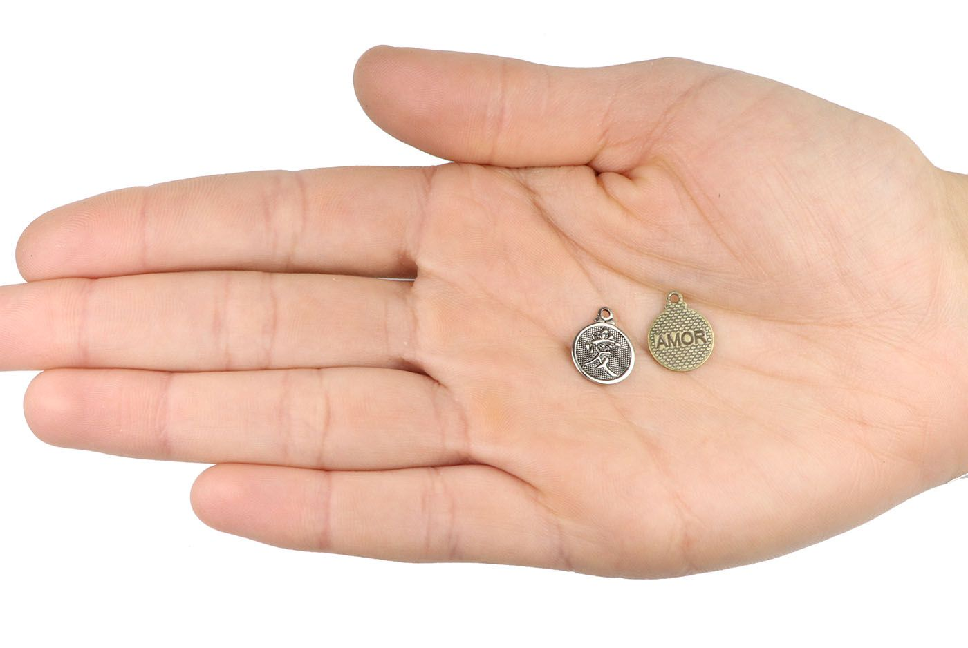Medalha Do Amor 11mm Metal - 5 Peças - ACM_384  - ArtStones