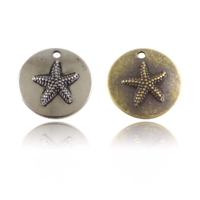 Medalha Estrela do Mar 11mm Metal - 5 Peças - ACM_404  - ArtStones