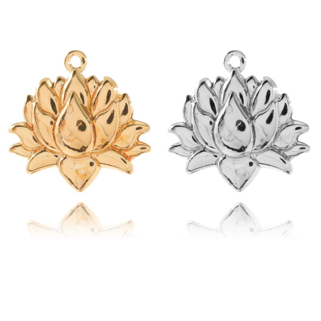 Medalha Flor de Lótus 14mm Metal - 5 Peças - AM074  - ArtStones